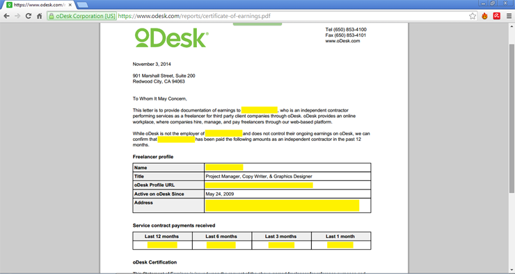 download proof of income from odesk
