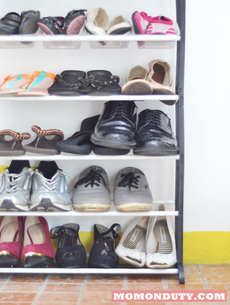 I finally organized our shoes!