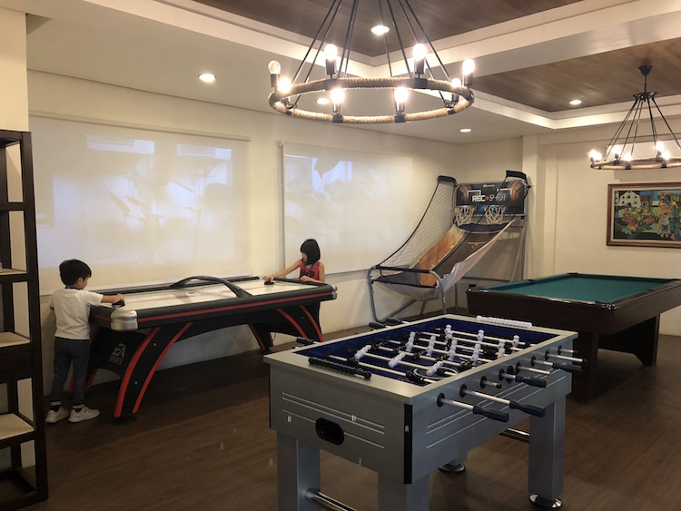 The game room at Montebello Villa Hotel is sure to keep kids busy while parents have a cup of coffee in the adjacent cafe.
